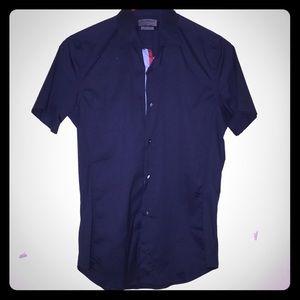 ZARA Dark Blue Short-Sleeved Oxford Shirt